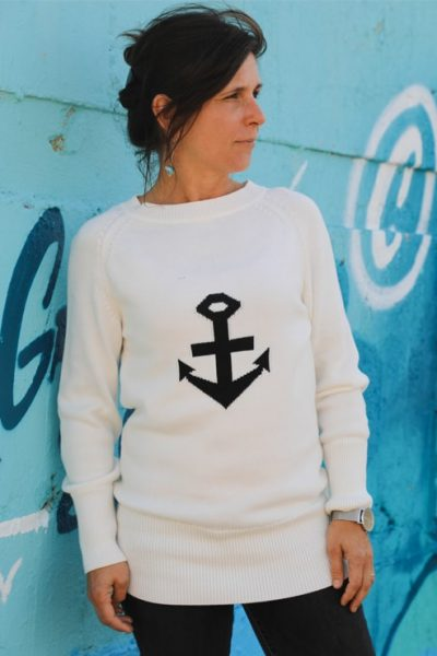 Pull ancre en coton sable & mer Cot' & Bord de Mer Soulac