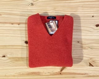 pull chaud femme col V corail