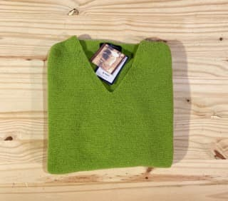 pull V chaud pour femme vert pomme soulac