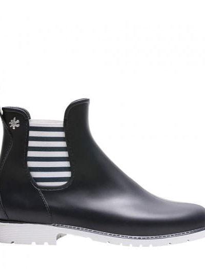 Bottes de pluie courte style bottine rayée marine et blanc