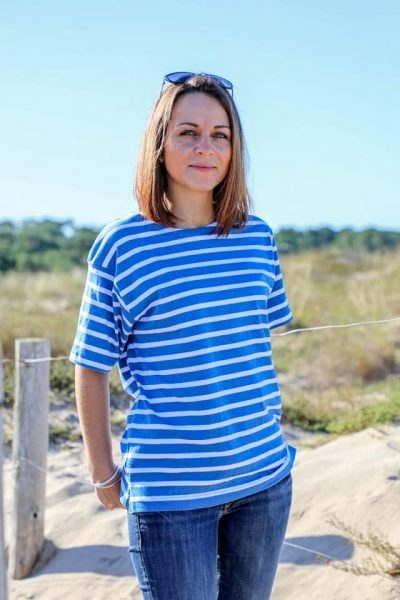 tee shirt mariniere manches courtes femme