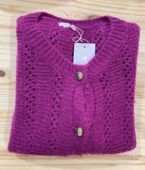 Gilet col rond mohair violet