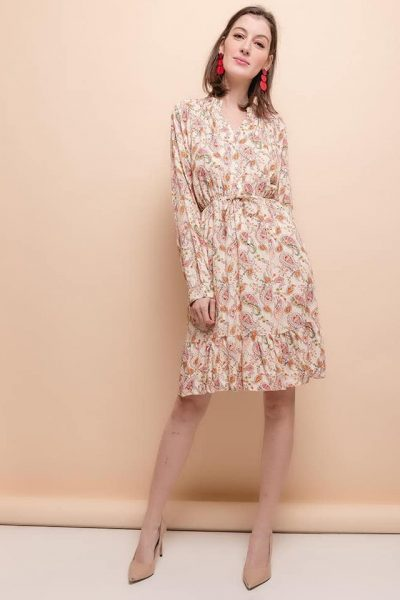 robe bohème courte manches longues