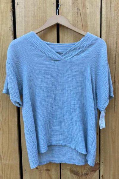 t-shirt doux bleu femme